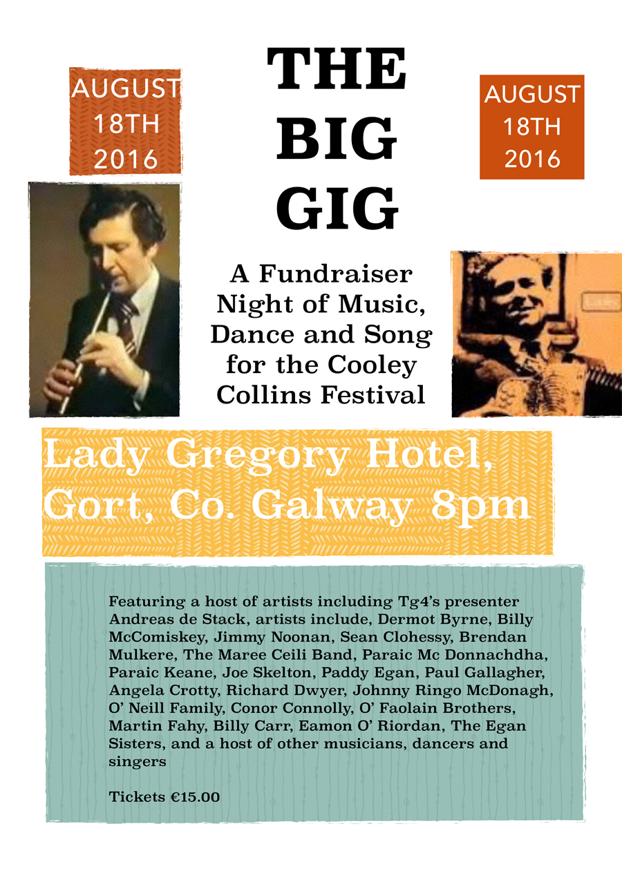 Cooley Collins Festival Fundraiser Flyer 18th August 2016 Lady Gregory Hotel Gort